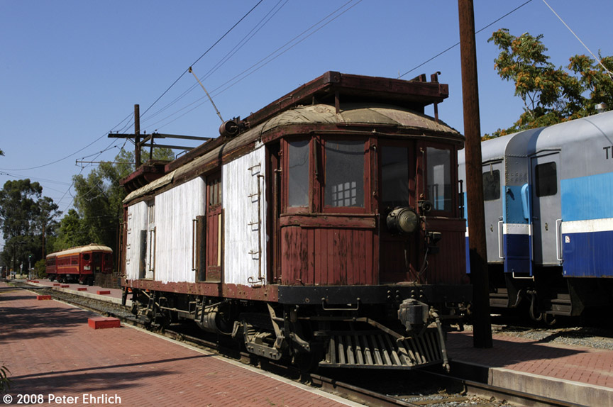 (189k, 864x574)<br><b>Country:</b> United States<br><b>City:</b> Perris, CA<br><b>System:</b> Orange Empire Railway Museum <br><b>Car:</b>  00157 <br><b>Photo by:</b> Peter Ehrlich<br><b>Date:</b> 6/14/2008<br><b>Notes:</b> Line car 00157 at Pinacate Station.<br><b>Viewed (this week/total):</b> 1 / 1384
