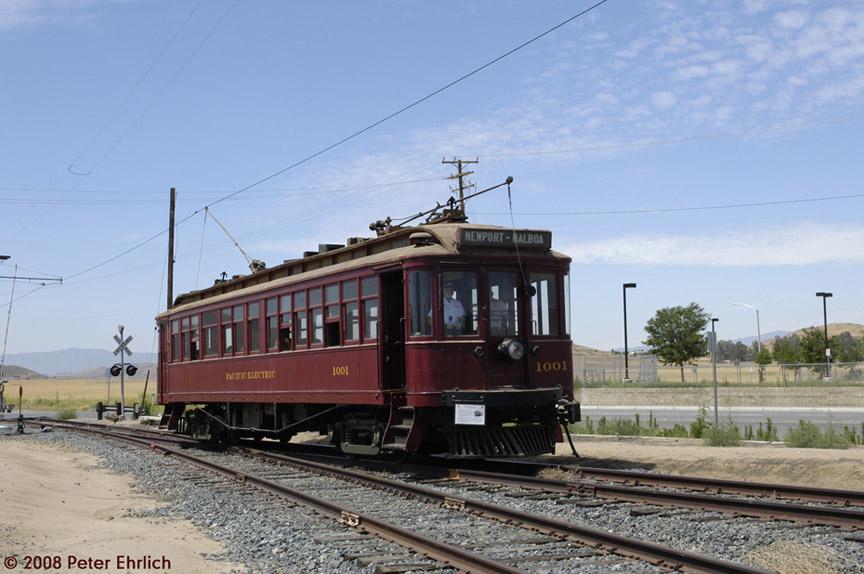 (170k, 864x574)<br><b>Country:</b> United States<br><b>City:</b> Perris, CA<br><b>System:</b> Orange Empire Railway Museum <br><b>Car:</b>  1001 <br><b>Photo by:</b> Peter Ehrlich<br><b>Date:</b> 6/15/2008<br><b>Notes:</b> At Alpine Drive northbound.<br><b>Viewed (this week/total):</b> 0 / 893