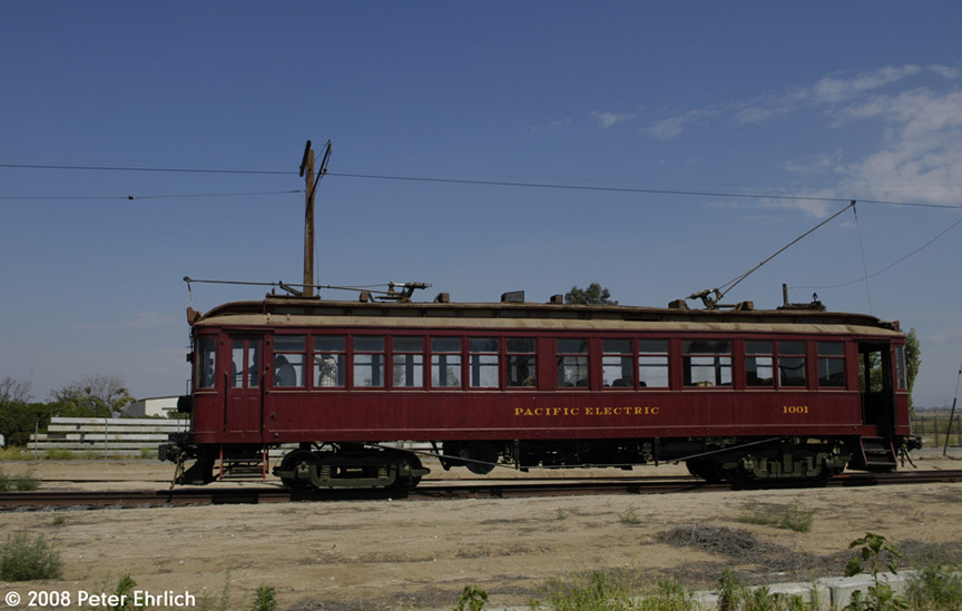 (136k, 864x549)<br><b>Country:</b> United States<br><b>City:</b> Perris, CA<br><b>System:</b> Orange Empire Railway Museum <br><b>Car:</b>  1001 <br><b>Photo by:</b> Peter Ehrlich<br><b>Date:</b> 6/14/2008<br><b>Notes:</b> Approaching Pinacate Station.<br><b>Viewed (this week/total):</b> 2 / 1663