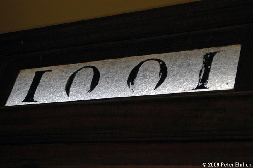 (117k, 864x574)<br><b>Country:</b> United States<br><b>City:</b> Perris, CA<br><b>System:</b> Orange Empire Railway Museum <br><b>Car:</b>  1001 <br><b>Photo by:</b> Peter Ehrlich<br><b>Date:</b> 6/15/2008<br><b>Notes:</b> Number in clerestory glass, a PE wood car hallmark.<br><b>Viewed (this week/total):</b> 0 / 850