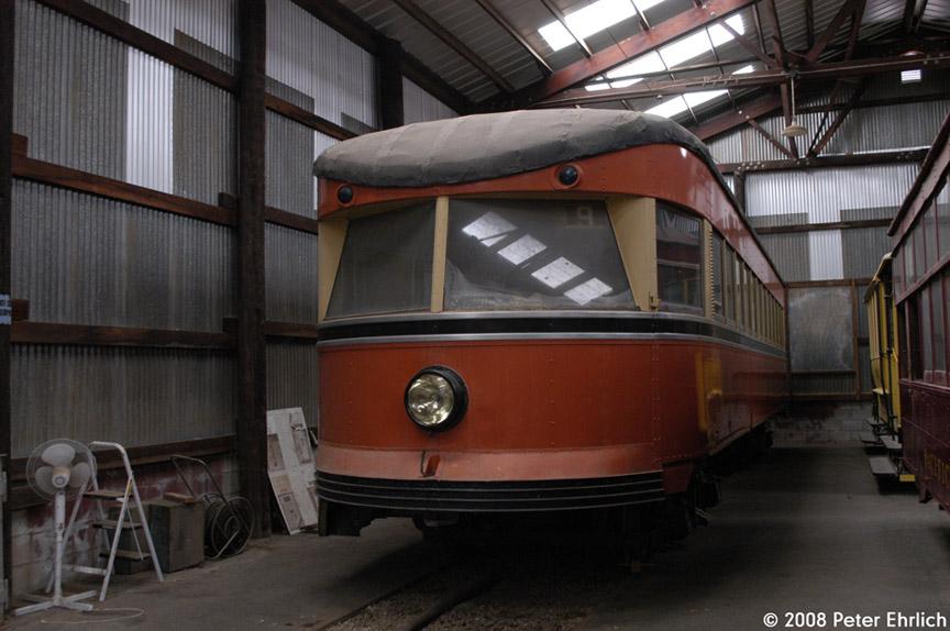 (164k, 864x574)<br><b>Country:</b> United States<br><b>City:</b> Perris, CA<br><b>System:</b> Orange Empire Railway Museum <br><b>Car:</b>  127 <br><b>Photo by:</b> Peter Ehrlich<br><b>Date:</b> 6/15/2008<br><b>Notes:</b> Bamberger Bullet 127.<br><b>Viewed (this week/total):</b> 0 / 962