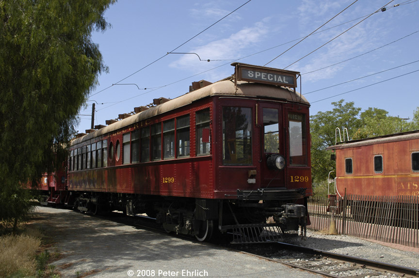 (192k, 864x574)<br><b>Country:</b> United States<br><b>City:</b> Perris, CA<br><b>System:</b> Orange Empire Railway Museum <br><b>Car:</b>  1299 <br><b>Photo by:</b> Peter Ehrlich<br><b>Date:</b> 6/15/2008<br><b>Notes:</b> South of Pinacate Station.<br><b>Viewed (this week/total):</b> 1 / 942