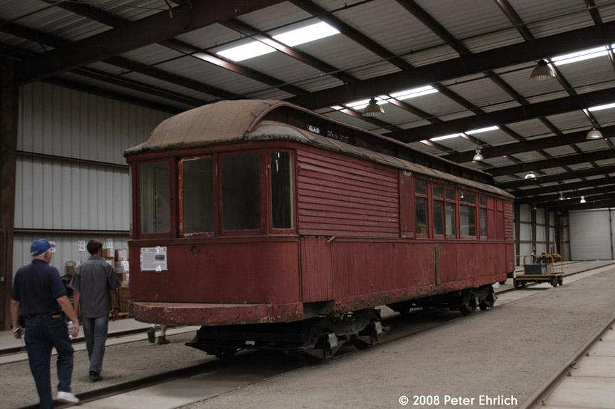 (164k, 864x574)<br><b>Country:</b> United States<br><b>City:</b> Perris, CA<br><b>System:</b> Orange Empire Railway Museum <br><b>Car:</b>  530 <br><b>Photo by:</b> Peter Ehrlich<br><b>Date:</b> 6/14/2008<br><b>Notes:</b> Inside Barn 7.  Built 1909.  New addition to Museum since 2007.<br><b>Viewed (this week/total):</b> 3 / 1477