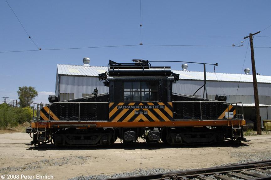 (160k, 864x574)<br><b>Country:</b> United States<br><b>City:</b> Perris, CA<br><b>System:</b> Orange Empire Railway Museum <br><b>Car:</b>  653 <br><b>Photo by:</b> Peter Ehrlich<br><b>Date:</b> 6/15/2008<br><b>Notes:</b> Sacramento Northern steeplecab loco 653.<br><b>Viewed (this week/total):</b> 1 / 897