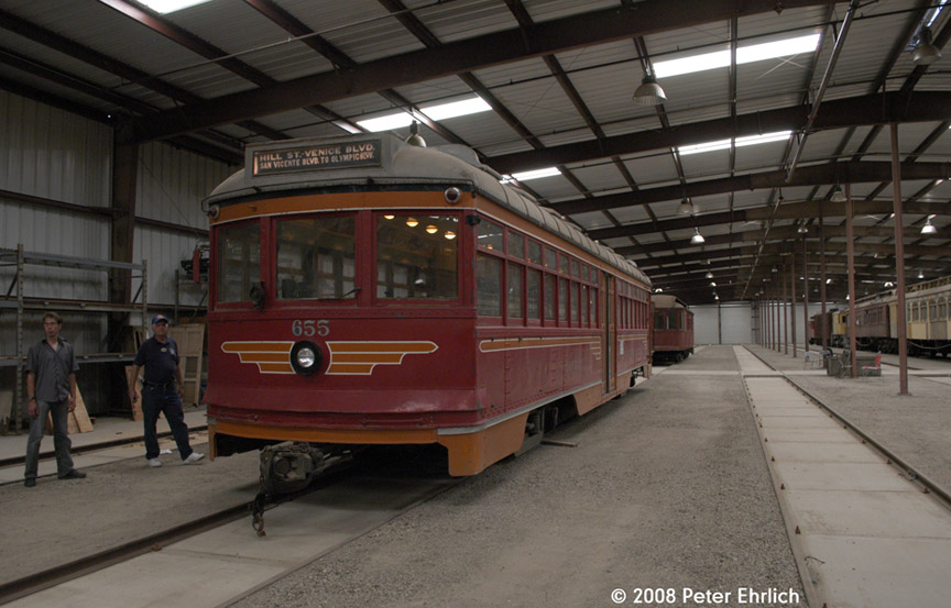 (166k, 864x553)<br><b>Country:</b> United States<br><b>City:</b> Perris, CA<br><b>System:</b> Orange Empire Railway Museum <br><b>Car:</b>  655 <br><b>Photo by:</b> Peter Ehrlich<br><b>Date:</b> 6/14/2008<br><b>Notes:</b> Hollywood 655; Inside new Barn 7.   This car was converted to rubber-tire operation after retirement in 1954, and has returned to the rails following purchase in 2007.<br><b>Viewed (this week/total):</b> 1 / 1599