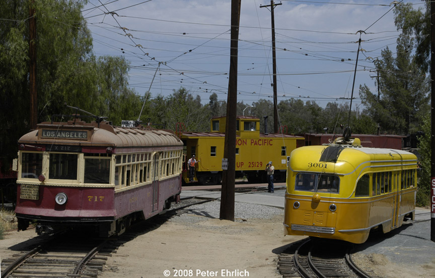 (191k, 864x553)<br><b>Country:</b> United States<br><b>City:</b> Perris, CA<br><b>System:</b> Orange Empire Railway Museum <br><b>Car:</b>  717 <br><b>Photo by:</b> Peter Ehrlich<br><b>Date:</b> 6/15/2008<br><b>Notes:</b> Hollywood car 717; South of Pinacate Station.  With LARy PCC 3001 on loop line.<br><b>Viewed (this week/total):</b> 0 / 949