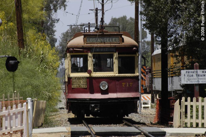 (217k, 864x574)<br><b>Country:</b> United States<br><b>City:</b> Perris, CA<br><b>System:</b> Orange Empire Railway Museum <br><b>Car:</b>  717 <br><b>Photo by:</b> Peter Ehrlich<br><b>Date:</b> 6/15/2008<br><b>Notes:</b> Hollywood car 717; Approaching Pinacate Station inbound.<br><b>Viewed (this week/total):</b> 1 / 950