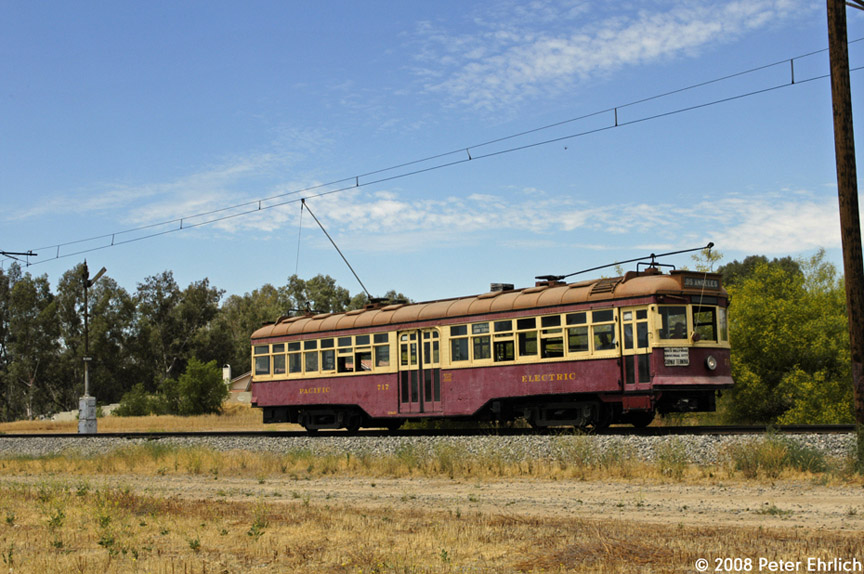 (198k, 864x574)<br><b>Country:</b> United States<br><b>City:</b> Perris, CA<br><b>System:</b> Orange Empire Railway Museum <br><b>Car:</b>  717 <br><b>Photo by:</b> Peter Ehrlich<br><b>Date:</b> 6/15/2008<br><b>Notes:</b> Hollywood car 717; On main line south of north end of line outbound.<br><b>Viewed (this week/total):</b> 0 / 814