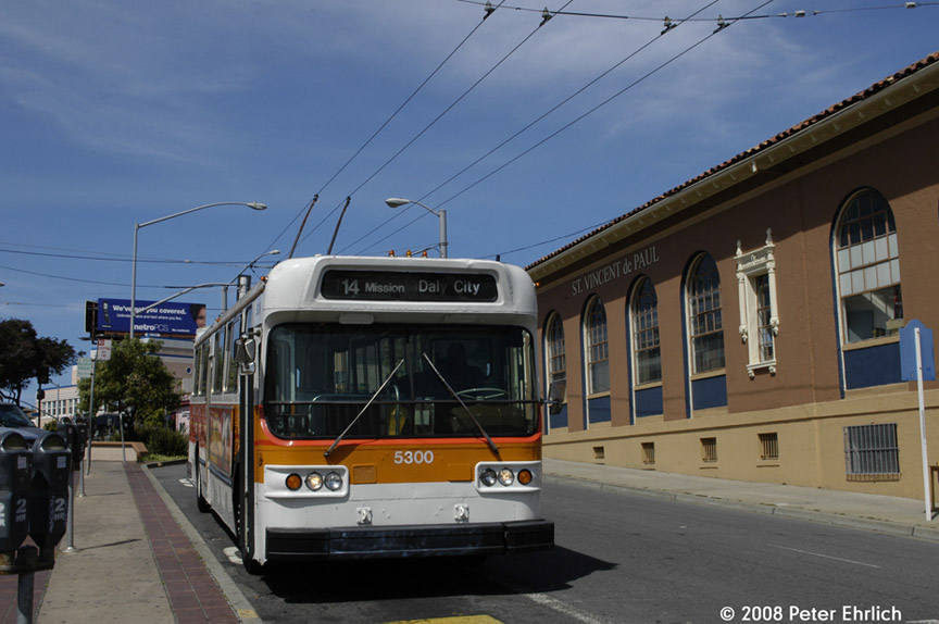(156k, 864x574)<br><b>Country:</b> United States<br><b>City:</b> San Francisco/Bay Area, CA<br><b>System:</b> SF MUNI<br><b>Line:</b> SF MUNI Trolley Coach Routes<br><b>Car:</b> SF MUNI Trolley Coach (Flyer E800, 1975-77) 5300 <br><b>Photo by:</b> Peter Ehrlich<br><b>Date:</b> 5/15/2008<br><b>Notes:</b> Top Of The Hill, Daly City (Mission/San Jose).<br><b>Viewed (this week/total):</b> 0 / 665