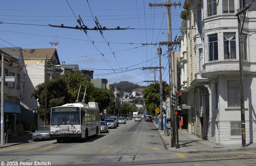 (198k, 864x561)<br><b>Country:</b> United States<br><b>City:</b> San Francisco/Bay Area, CA<br><b>System:</b> SF MUNI<br><b>Line:</b> SF MUNI Trolley Coach Routes<br><b>Location:</b> 18th/Church<br><b>Car:</b> SF MUNI Trolley Coach (ETI 14Tr-SF 40ft., 2001-03) 5439 <br><b>Photo by:</b> Peter Ehrlich<br><b>Date:</b> 6/30/2008<br><b>Notes:</b> 18th Street/Church.  Line 33-Stanyan inbound. (eastbound).<br><b>Viewed (this week/total):</b> 0 / 689
