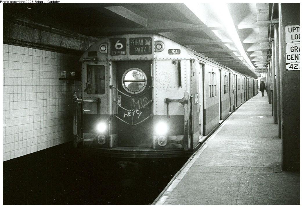 (259k, 1044x718)<br><b>Country:</b> United States<br><b>City:</b> New York<br><b>System:</b> New York City Transit<br><b>Line:</b> IRT East Side Line<br><b>Location:</b> Grand Central <br><b>Route:</b> 6<br><b>Car:</b> R-17 (St. Louis, 1955-56) 6842 <br><b>Photo by:</b> Brian J. Cudahy<br><b>Date:</b> 1972<br><b>Notes:</b> Pelham-bound Lexington Avenue Local at Grand Central.<br><b>Viewed (this week/total):</b> 3 / 2325