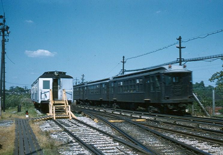 (117k, 743x515)<br><b>Country:</b> United States<br><b>City:</b> New York<br><b>System:</b> New York City Transit<br><b>Location:</b> Fresh Pond Yard<br><b>Car:</b> BMT Q  <br><b>Photo by:</b> Brian J. Cudahy<br><b>Date:</b> 1958<br><b>Notes:</b> Newly renovated Q units roll past Fresh Pond Yard office enroute to Metropolitan Avenue.<br><b>Viewed (this week/total):</b> 0 / 2092