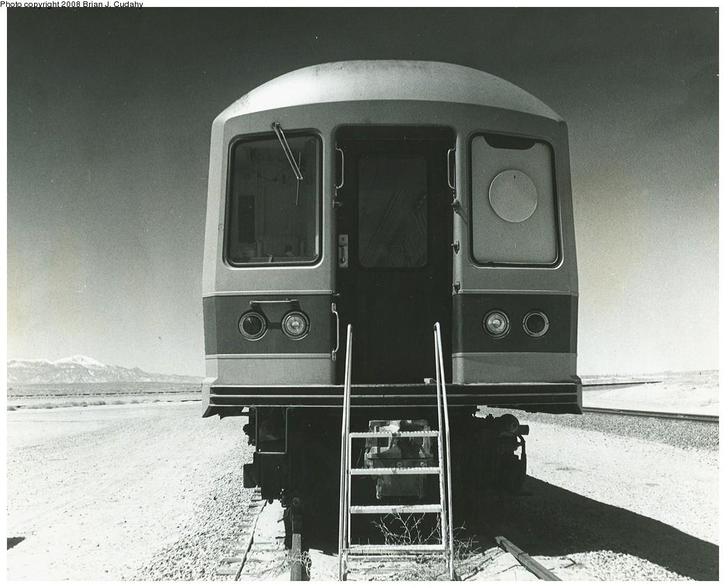 (234k, 1044x846)<br><b>Country:</b> United States<br><b>City:</b> New York<br><b>System:</b> New York City Transit<br><b>Location:</b> US DOT Test Facility, Pueblo, Colorado<br><b>Car:</b> R-42 (St. Louis, 1969-1970)   <br><b>Photo by:</b> Brian J. Cudahy<br><b>Date:</b> 1973<br><b>Notes:</b> R-42 unit, either 4653 or 4765, at DOT test track in Pueblo, Colorado.<br><b>Viewed (this week/total):</b> 3 / 2133