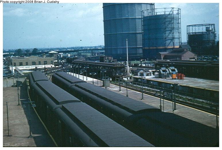 (117k, 773x522)<br><b>Country:</b> United States<br><b>City:</b> New York<br><b>System:</b> New York City Transit<br><b>Location:</b> Coney Island/Stillwell Avenue<br><b>Car:</b> R-1/R-9 Series   <br><b>Photo by:</b> Brian J. Cudahy<br><b>Date:</b> 1954<br><b>Notes:</b> Stillwell Terminal in summer 1954, while Culver was still BMT.<br><b>Viewed (this week/total):</b> 0 / 2044