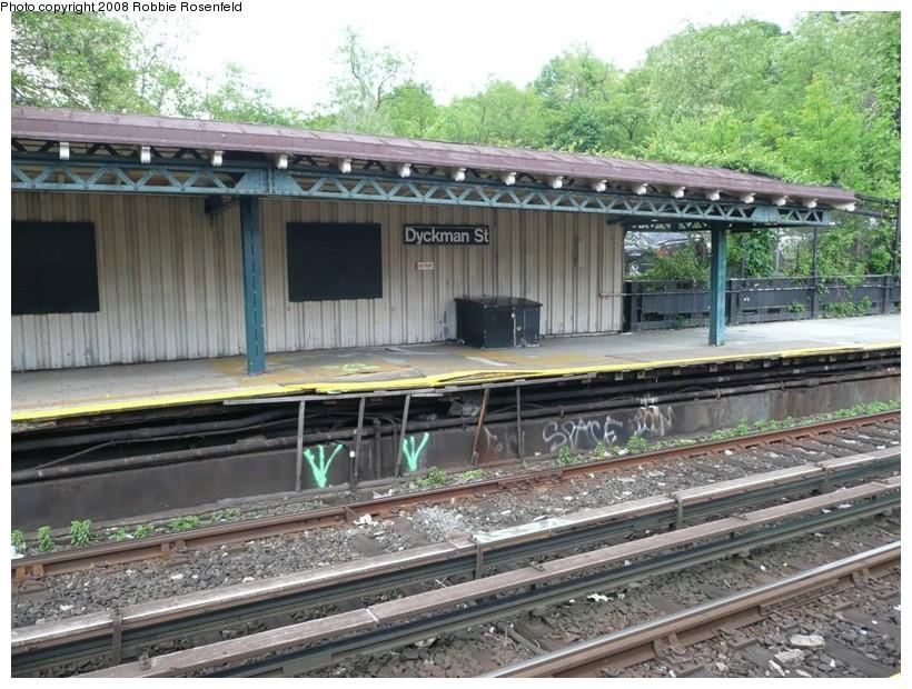 (197k, 820x620)<br><b>Country:</b> United States<br><b>City:</b> New York<br><b>System:</b> New York City Transit<br><b>Line:</b> IRT West Side Line<br><b>Location:</b> Dyckman Street <br><b>Photo by:</b> Robbie Rosenfeld<br><b>Date:</b> 5/21/2008<br><b>Notes:</b> Platform view, in need of some TLC.<br><b>Viewed (this week/total):</b> 3 / 1390