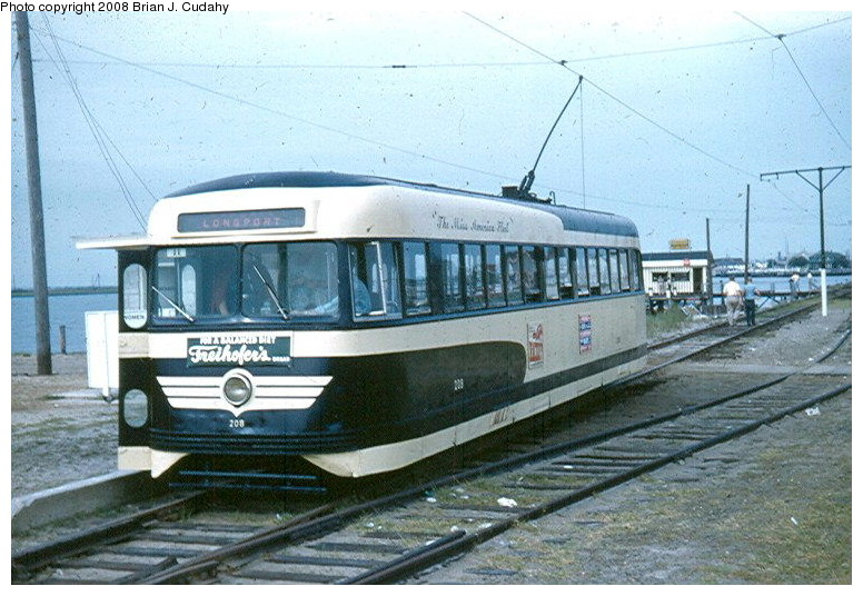 (148k, 776x536)<br><b>Country:</b> United States<br><b>City:</b> Atlantic City, NJ<br><b>System:</b> Atlantic City Transit<br><b>Car:</b> Atlantic City Brilliner (J.G. Brill, 1940) 208 <br><b>Photo by:</b> Brian J. Cudahy<br><b>Date:</b> 8/1954<br><b>Notes:</b> Atlantic City Brilliner No. 208 at Longport, NJ<br><b>Viewed (this week/total):</b> 2 / 2255