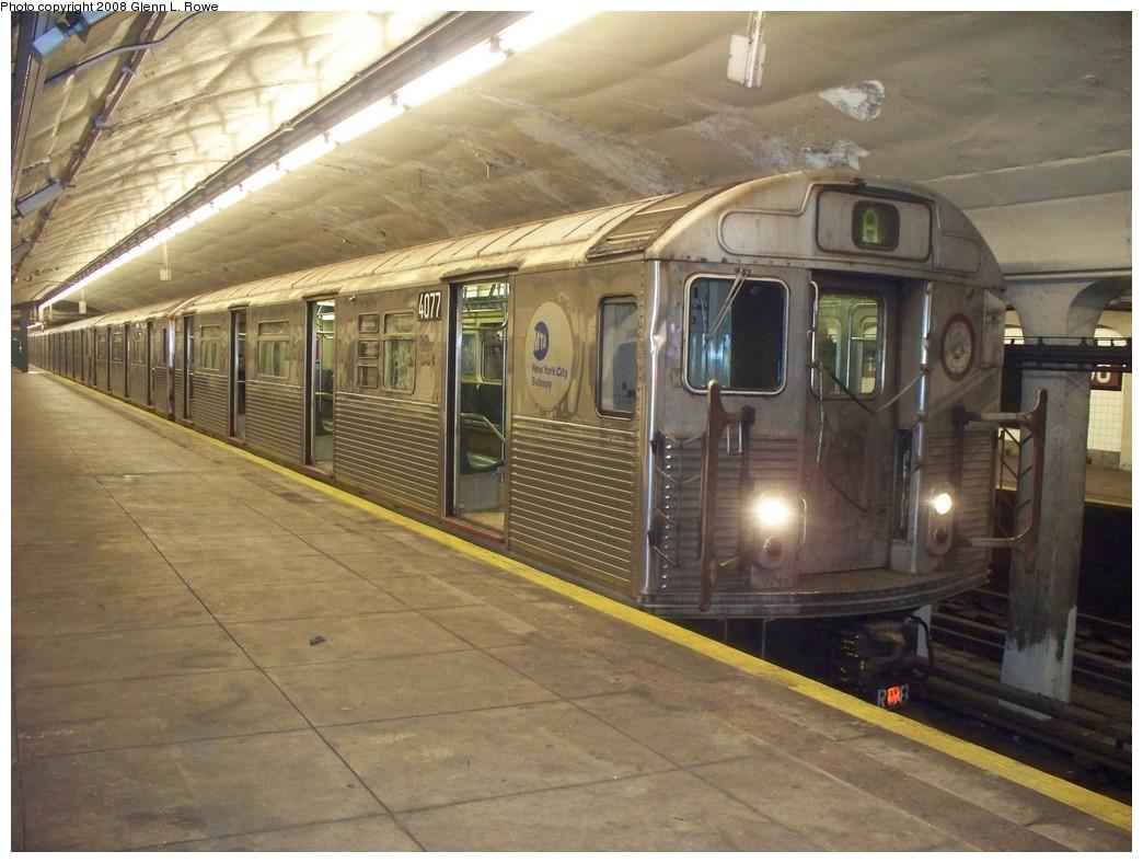 (216k, 1044x788)<br><b>Country:</b> United States<br><b>City:</b> New York<br><b>System:</b> New York City Transit<br><b>Line:</b> IND 8th Avenue Line<br><b>Location:</b> 190th Street/Overlook Terrace <br><b>Route:</b> A<br><b>Car:</b> R-38 (St. Louis, 1966-1967)  4077 <br><b>Photo by:</b> Glenn L. Rowe<br><b>Date:</b> 7/9/2008<br><b>Viewed (this week/total):</b> 1 / 1459