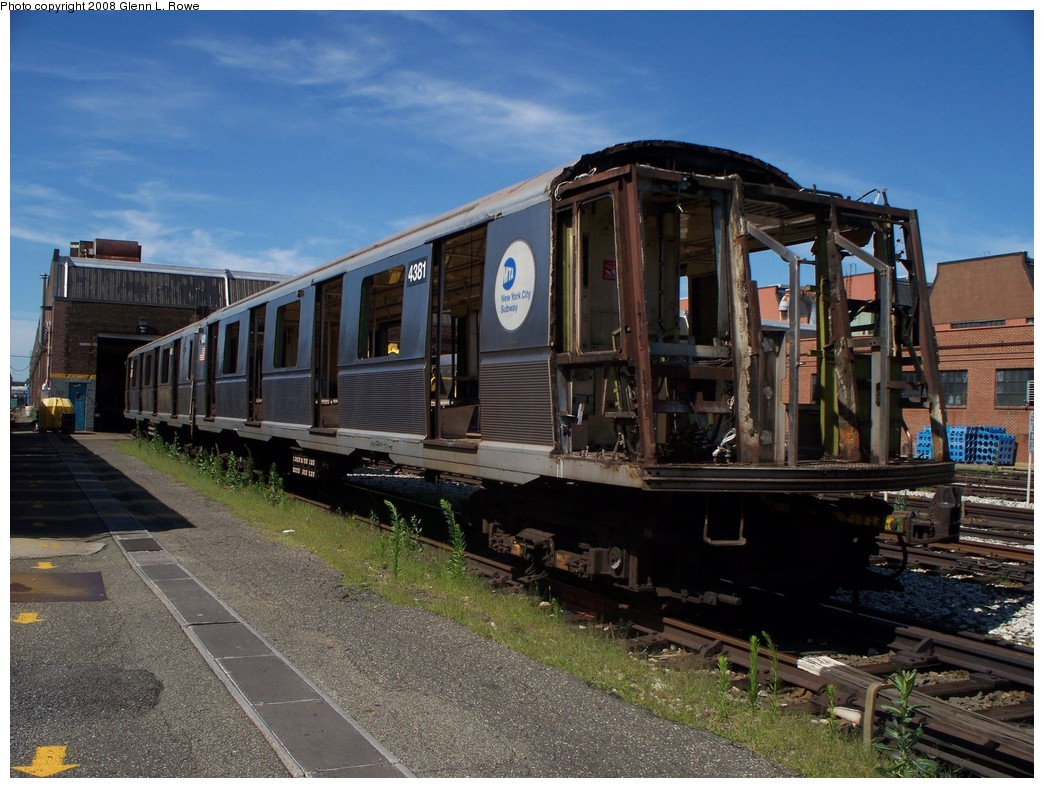 (243k, 1044x788)<br><b>Country:</b> United States<br><b>City:</b> New York<br><b>System:</b> New York City Transit<br><b>Location:</b> 207th Street Yard<br><b>Car:</b> R-40 (St. Louis, 1968)  4381 <br><b>Photo by:</b> Glenn L. Rowe<br><b>Date:</b> 7/10/2008<br><b>Notes:</b> Scrap<br><b>Viewed (this week/total):</b> 0 / 1548