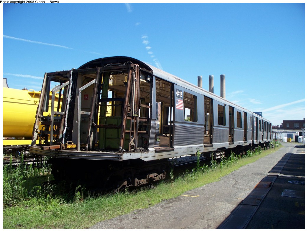 (234k, 1044x788)<br><b>Country:</b> United States<br><b>City:</b> New York<br><b>System:</b> New York City Transit<br><b>Location:</b> 207th Street Yard<br><b>Car:</b> R-40 (St. Louis, 1968)  4412 <br><b>Photo by:</b> Glenn L. Rowe<br><b>Date:</b> 7/11/2008<br><b>Notes:</b> Scrap<br><b>Viewed (this week/total):</b> 1 / 2452