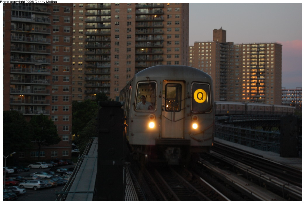 (208k, 1044x701)<br><b>Country:</b> United States<br><b>City:</b> New York<br><b>System:</b> New York City Transit<br><b>Line:</b> BMT Brighton Line<br><b>Location:</b> West 8th Street <br><b>Route:</b> Q<br><b>Car:</b> R-68/R-68A Series (Number Unknown)  <br><b>Photo by:</b> Danny Molina<br><b>Date:</b> 7/10/2008<br><b>Viewed (this week/total):</b> 0 / 1799