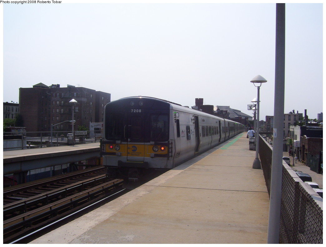 (162k, 1044x791)<br><b>Country:</b> United States<br><b>City:</b> New York<br><b>System:</b> Long Island Rail Road<br><b>Line:</b> LIRR Flatbush Ave.<br><b>Location:</b> Nostrand Avenue <br><b>Car:</b> LIRR M-7 EMU (Bombardier) 7208 <br><b>Photo by:</b> Roberto C. Tobar<br><b>Date:</b> 7/12/2008<br><b>Viewed (this week/total):</b> 0 / 1933