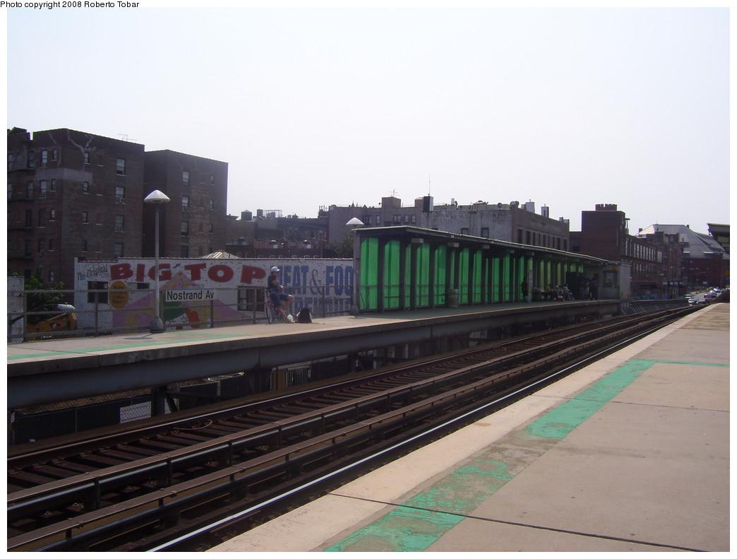 (176k, 1044x791)<br><b>Country:</b> United States<br><b>City:</b> New York<br><b>System:</b> Long Island Rail Road<br><b>Line:</b> LIRR Flatbush Ave.<br><b>Location:</b> Nostrand Avenue <br><b>Photo by:</b> Roberto C. Tobar<br><b>Date:</b> 7/12/2008<br><b>Notes:</b> Platform view.<br><b>Viewed (this week/total):</b> 0 / 1716