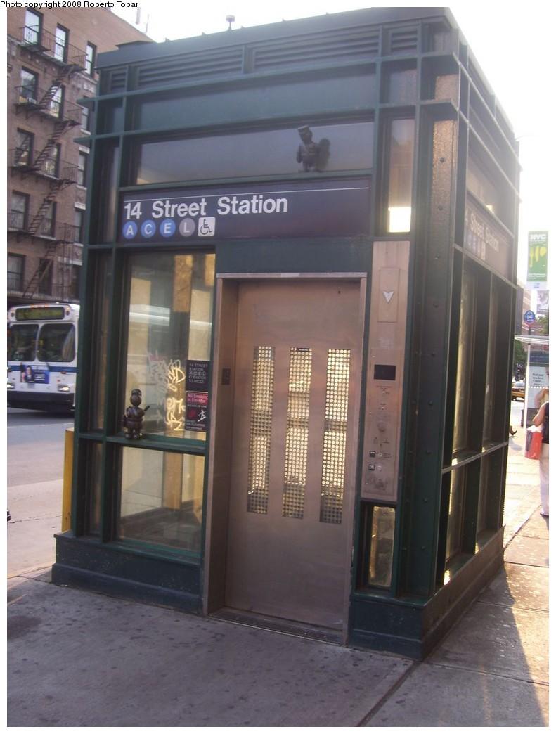 (181k, 791x1044)<br><b>Country:</b> United States<br><b>City:</b> New York<br><b>System:</b> New York City Transit<br><b>Line:</b> IND 8th Avenue Line<br><b>Location:</b> 14th Street <br><b>Photo by:</b> Roberto C. Tobar<br><b>Date:</b> 7/12/2008<br><b>Notes:</b> Elevator to station.<br><b>Viewed (this week/total):</b> 0 / 1344