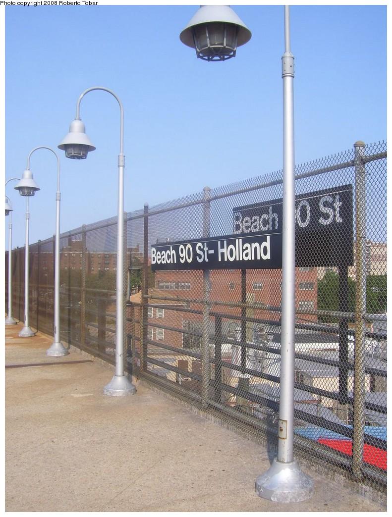 (251k, 791x1044)<br><b>Country:</b> United States<br><b>City:</b> New York<br><b>System:</b> New York City Transit<br><b>Line:</b> IND Rockaway<br><b>Location:</b> Beach 90th Street/Holland <br><b>Photo by:</b> Roberto C. Tobar<br><b>Date:</b> 7/12/2008<br><b>Notes:</b> Note double signs.<br><b>Viewed (this week/total):</b> 0 / 1431