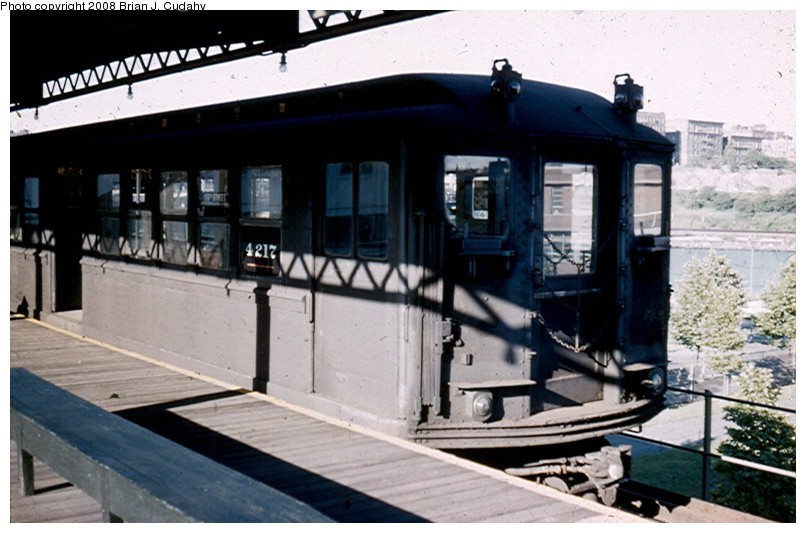 (112k, 806x533)<br><b>Country:</b> United States<br><b>City:</b> New York<br><b>System:</b> New York City Transit<br><b>Line:</b> 9th Avenue El<br><b>Location:</b> 155th Street <br><b>Car:</b> Low-V 4217 <br><b>Photo by:</b> Brian J. Cudahy<br><b>Date:</b> 9/1958<br><b>Viewed (this week/total):</b> 0 / 1832
