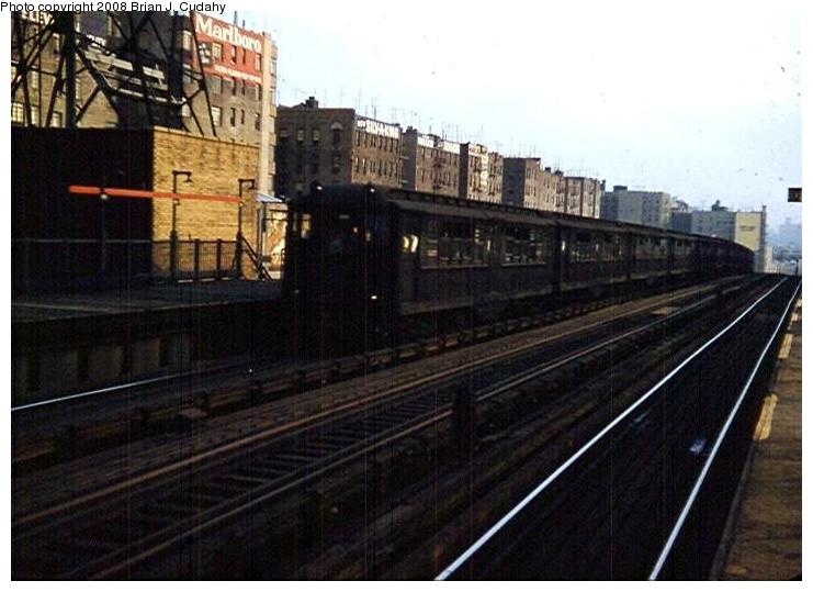(140k, 741x539)<br><b>Country:</b> United States<br><b>City:</b> New York<br><b>System:</b> New York City Transit<br><b>Line:</b> IRT Woodlawn Line<br><b>Location:</b> 161st Street/River Avenue (Yankee Stadium) <br><b>Car:</b> Low-V  <br><b>Photo by:</b> Brian J. Cudahy<br><b>Date:</b> 1958<br><b>Notes:</b> Northbound Lexington Avenue Express at 161 Street-Yankee Stadium.<br><b>Viewed (this week/total):</b> 2 / 1749