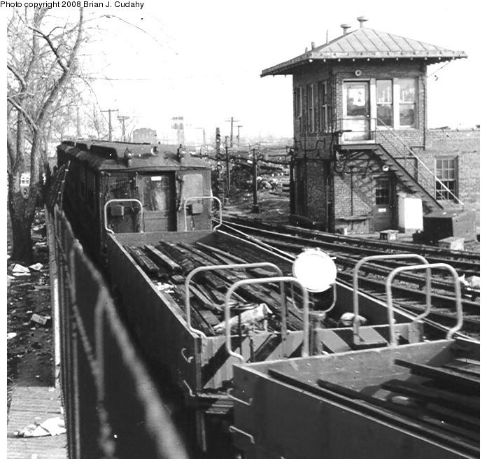 (159k, 696x666)<br><b>Country:</b> United States<br><b>City:</b> New York<br><b>System:</b> New York City Transit<br><b>Location:</b> 239th Street Yard<br><b>Car:</b> Hi-V  <br><b>Photo by:</b> Brian J. Cudahy<br><b>Date:</b> 1970<br><b>Notes:</b> Hi-V cars in work service at 239th Street Yard, ca. 1970.<br><b>Viewed (this week/total):</b> 3 / 2178