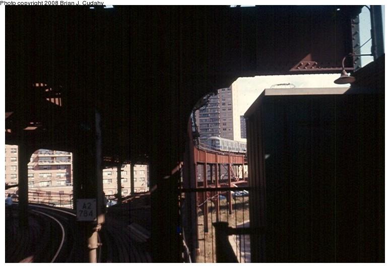 (106k, 774x532)<br><b>Country:</b> United States<br><b>City:</b> New York<br><b>System:</b> New York City Transit<br><b>Line:</b> BMT Culver Line<br><b>Location:</b> West 8th Street <br><b>Car:</b> R-42 (St. Louis, 1969-1970)   <br><b>Photo by:</b> Brian J. Cudahy<br><b>Date:</b> 2/1970<br><b>Notes:</b> View looking toward Ocean Parkway from lower level of West 8th Street station.<br><b>Viewed (this week/total):</b> 3 / 2105
