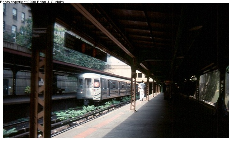 (93k, 745x453)<br><b>Country:</b> United States<br><b>City:</b> New York<br><b>System:</b> New York City Transit<br><b>Line:</b> BMT Brighton Line<br><b>Location:</b> Prospect Park <br><b>Route:</b> D<br><b>Car:</b> R-68/R-68A Series (Number Unknown)  <br><b>Photo by:</b> Brian J. Cudahy<br><b>Date:</b> 1990<br><b>Notes:</b> D train at Prospect Park.<br><b>Viewed (this week/total):</b> 3 / 3025