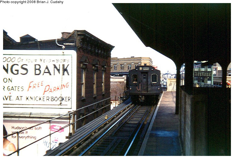 (166k, 760x518)<br><b>Country:</b> United States<br><b>City:</b> New York<br><b>System:</b> New York City Transit<br><b>Line:</b> BMT Myrtle Avenue Line<br><b>Location:</b> Wyckoff Avenue <br><b>Car:</b> BMT Multi  <br><b>Photo by:</b> Brian J. Cudahy<br><b>Date:</b> 3/1960<br><b>Notes:</b> Multi section train in Myrtle-Chambers service enters Wyckoff Avenue enroute to Chambers Street.<br><b>Viewed (this week/total):</b> 0 / 2611