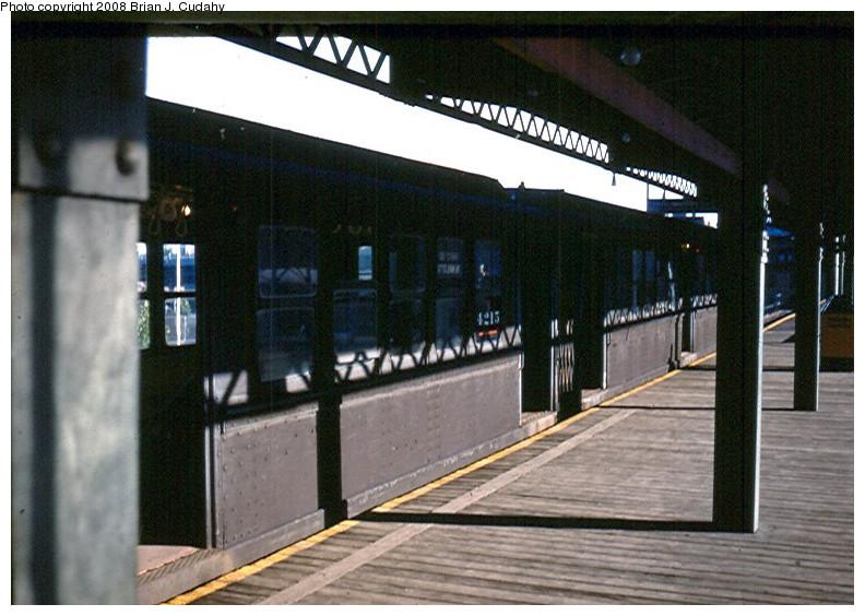 (172k, 792x564)<br><b>Country:</b> United States<br><b>City:</b> New York<br><b>System:</b> New York City Transit<br><b>Line:</b> 9th Avenue El<br><b>Location:</b> 155th Street <br><b>Car:</b> Low-V 4215 <br><b>Photo by:</b> Brian J. Cudahy<br><b>Date:</b> 9/1958<br><b>Viewed (this week/total):</b> 0 / 2129