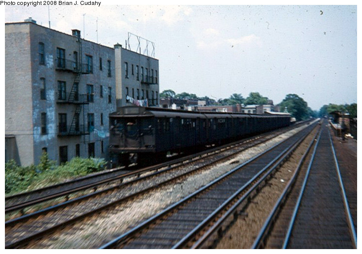 (149k, 738x518)<br><b>Country:</b> United States<br><b>City:</b> New York<br><b>System:</b> New York City Transit<br><b>Line:</b> BMT Brighton Line<br><b>Location:</b> Avenue J <br><b>Car:</b> BMT D-Type Triplex  <br><b>Photo by:</b> Brian J. Cudahy<br><b>Date:</b> 1958<br><b>Viewed (this week/total):</b> 2 / 1882