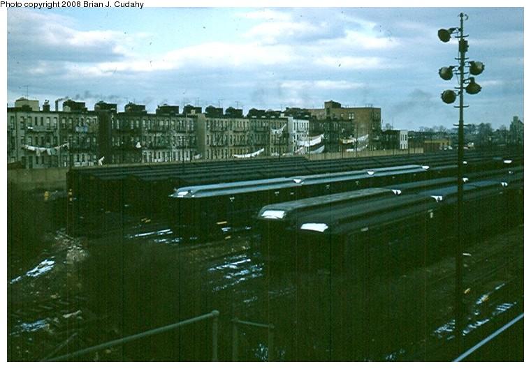 (130k, 760x529)<br><b>Country:</b> United States<br><b>City:</b> New York<br><b>System:</b> New York City Transit<br><b>Location:</b> Fresh Pond Yard<br><b>Photo by:</b> Brian J. Cudahy<br><b>Date:</b> 1958<br><b>Viewed (this week/total):</b> 0 / 931