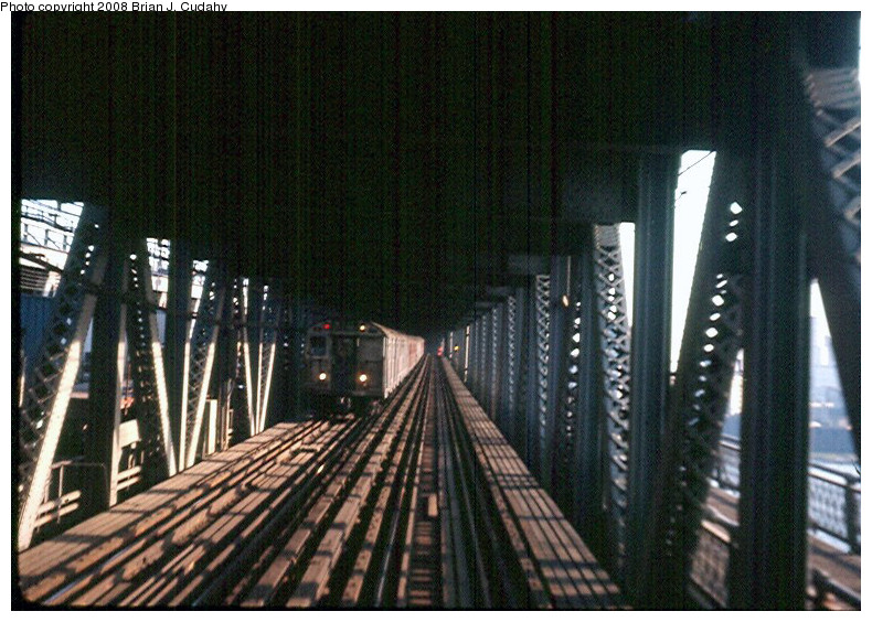(202k, 790x564)<br><b>Country:</b> United States<br><b>City:</b> New York<br><b>System:</b> New York City Transit<br><b>Location:</b> Manhattan Bridge<br><b>Car:</b> R-27/R-30 Series (Number Unknown)  <br><b>Photo by:</b> Brian J. Cudahy<br><b>Viewed (this week/total):</b> 1 / 2298