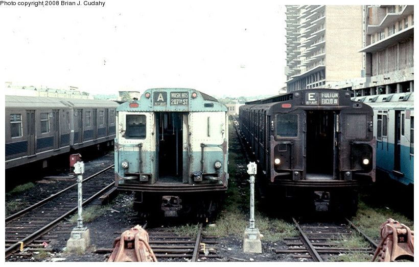 (157k, 820x524)<br><b>Country:</b> United States<br><b>City:</b> New York<br><b>System:</b> New York City Transit<br><b>Location:</b> Pitkin Yard/Shops<br><b>Car:</b> R-10 (American Car & Foundry, 1948)  <br><b>Photo by:</b> Brian J. Cudahy<br><b>Date:</b> 1970<br><b>Viewed (this week/total):</b> 12 / 3376