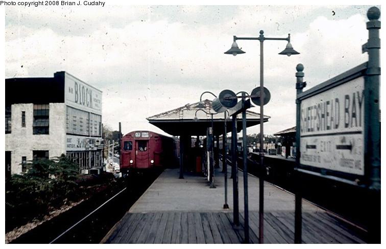 (133k, 756x487)<br><b>Country:</b> United States<br><b>City:</b> New York<br><b>System:</b> New York City Transit<br><b>Line:</b> BMT Brighton Line<br><b>Location:</b> Sheepshead Bay <br><b>Route:</b> QJ<br><b>Car:</b> R-27/R-30 Series (Number Unknown)  <br><b>Photo by:</b> Brian J. Cudahy<br><b>Date:</b> 2/1970<br><b>Notes:</b> CI-bound Brighton Local at Sheepshead Bay.<br><b>Viewed (this week/total):</b> 3 / 2295