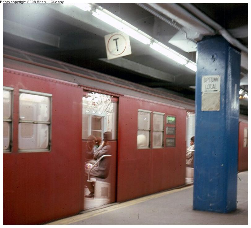 (167k, 811x737)<br><b>Country:</b> United States<br><b>City:</b> New York<br><b>System:</b> New York City Transit<br><b>Line:</b> IRT East Side Line<br><b>Location:</b> Grand Central <br><b>Photo by:</b> Brian J. Cudahy<br><b>Date:</b> 1968<br><b>Notes:</b> Pelham-bound Lexington Avenue Local at Grand Central, ca.1968.<br><b>Viewed (this week/total):</b> 0 / 1789