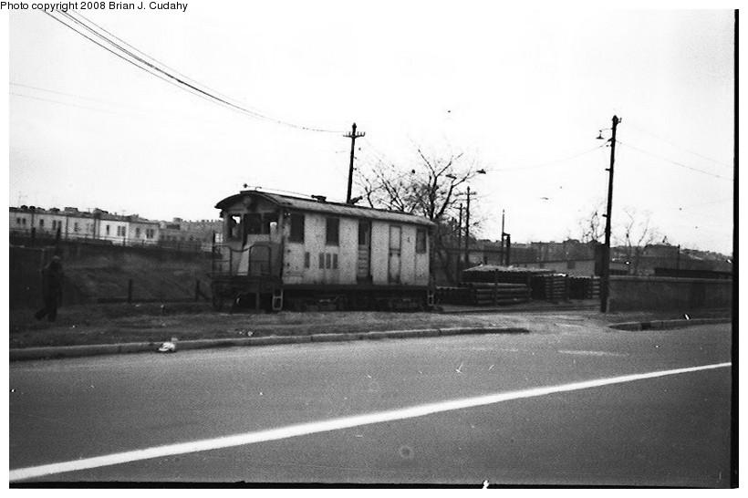 (116k, 820x546)<br><b>Country:</b> United States<br><b>City:</b> New York<br><b>System:</b> New York City Transit<br><b>Location:</b> 36th Street Yard<br><b>Car:</b> SBK Box Cab 4 <br><b>Photo by:</b> Brian J. Cudahy<br><b>Date:</b> 1956<br><b>Notes:</b> BMT (South Brooklyn) box motor No. 4 outside 36th Street yard.<br><b>Viewed (this week/total):</b> 0 / 1629