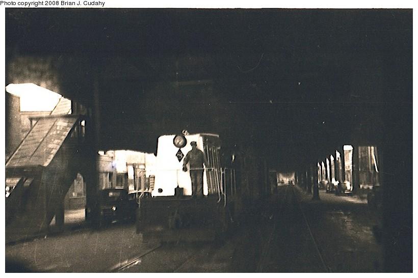 (109k, 820x546)<br><b>Country:</b> United States<br><b>City:</b> New York<br><b>System:</b> New York City Transit<br><b>Line:</b> BMT Culver Line<br><b>Location:</b> Kings Highway <br><b>Car:</b> Whitcomb Locomotive 8 <br><b>Photo by:</b> Brian J. Cudahy<br><b>Date:</b> 1956<br><b>Notes:</b> South Brooklyn diesel No. 8 heading toward Coney Island, under the Culver El at McDonald Avenue & Kings Highway.<br><b>Viewed (this week/total):</b> 2 / 2283