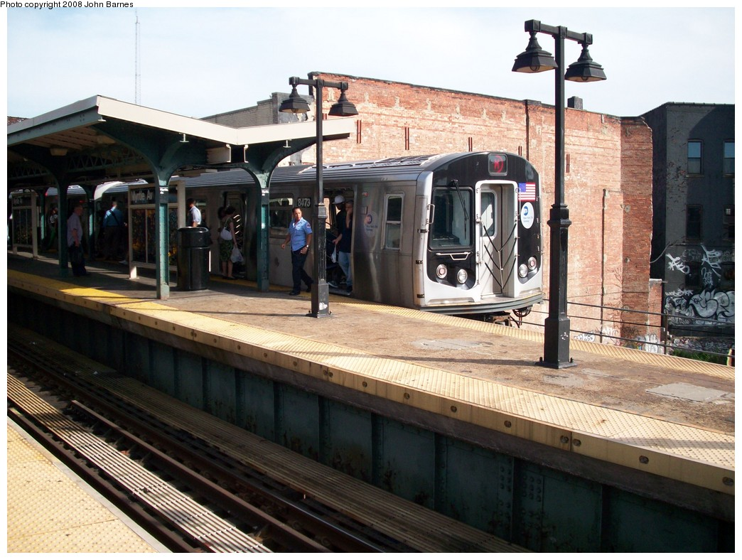 (238k, 1044x788)<br><b>Country:</b> United States<br><b>City:</b> New York<br><b>System:</b> New York City Transit<br><b>Line:</b> BMT Nassau Street/Jamaica Line<br><b>Location:</b> Myrtle Avenue <br><b>Route:</b> M<br><b>Car:</b> R-160A-1 (Alstom, 2005-2008, 4 car sets)  8473 <br><b>Photo by:</b> John Barnes<br><b>Date:</b> 7/10/2008<br><b>Viewed (this week/total):</b> 0 / 1339