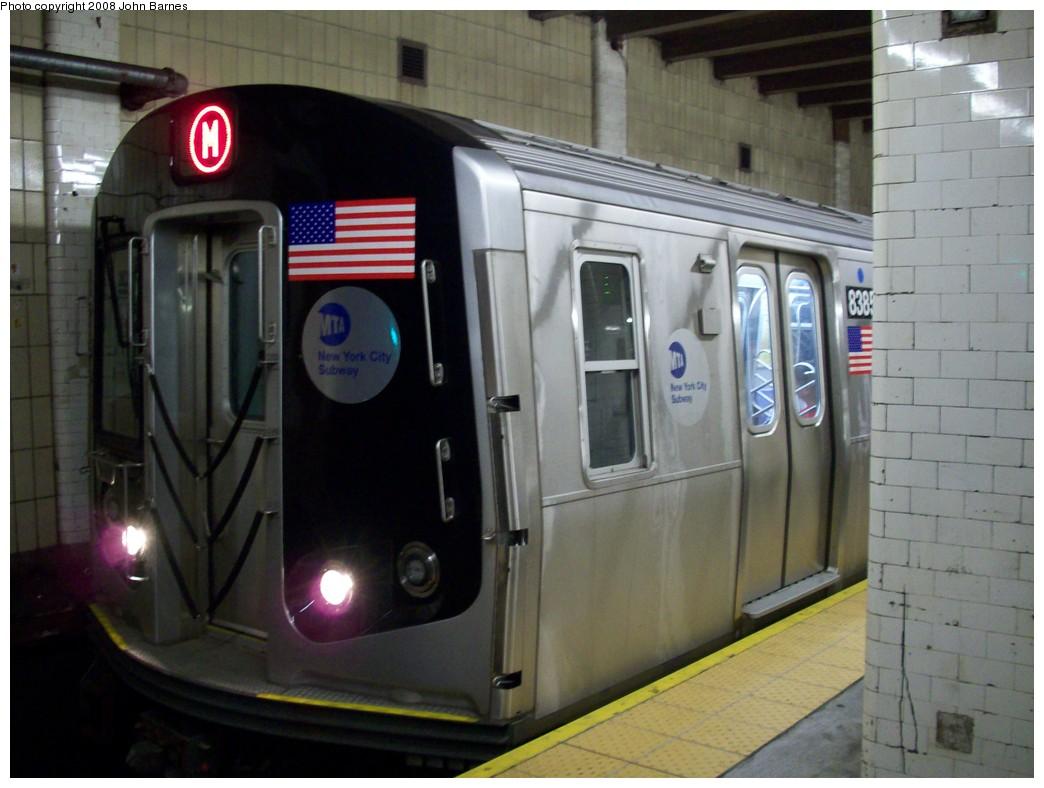 (183k, 1044x788)<br><b>Country:</b> United States<br><b>City:</b> New York<br><b>System:</b> New York City Transit<br><b>Line:</b> BMT Nassau Street/Jamaica Line<br><b>Location:</b> Chambers Street <br><b>Route:</b> M<br><b>Car:</b> R-160A-1 (Alstom, 2005-2008, 4 car sets)  8385 <br><b>Photo by:</b> John Barnes<br><b>Date:</b> 7/10/2008<br><b>Viewed (this week/total):</b> 0 / 2295