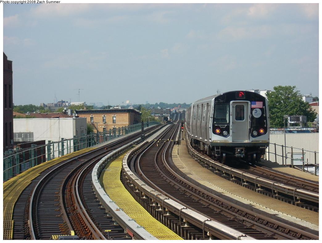 (281k, 1044x788)<br><b>Country:</b> United States<br><b>City:</b> New York<br><b>System:</b> New York City Transit<br><b>Line:</b> BMT West End Line<br><b>Location:</b> 18th Avenue <br><b>Route:</b> M<br><b>Car:</b> R-160A-1 (Alstom, 2005-2008, 4 car sets)   <br><b>Photo by:</b> Zach Summer<br><b>Date:</b> 6/30/2008<br><b>Viewed (this week/total):</b> 1 / 1698