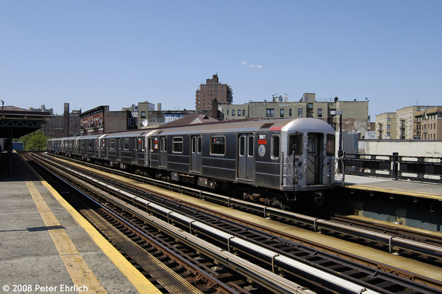 (193k, 864x574)<br><b>Country:</b> United States<br><b>City:</b> New York<br><b>System:</b> New York City Transit<br><b>Line:</b> IRT West Side Line<br><b>Location:</b> 207th Street <br><b>Car:</b> R-62A (Bombardier, 1984-1987)  1861 <br><b>Photo by:</b> Peter Ehrlich<br><b>Date:</b> 7/15/2008<br><b>Notes:</b> Train leaving, trailing view.<br><b>Viewed (this week/total):</b> 0 / 1462
