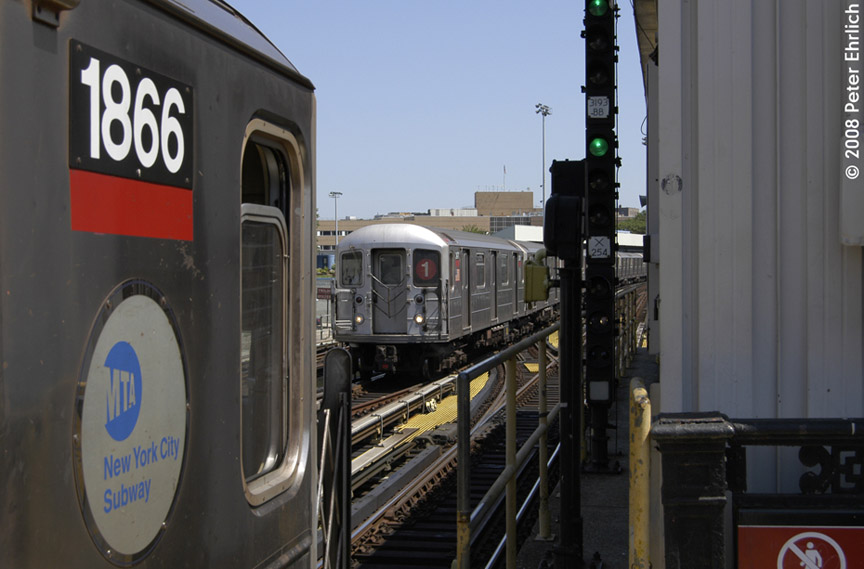 (144k, 864x569)<br><b>Country:</b> United States<br><b>City:</b> New York<br><b>System:</b> New York City Transit<br><b>Line:</b> IRT West Side Line<br><b>Location:</b> North of 215th Street <br><b>Car:</b> R-62A (Bombardier, 1984-1987)  1866 <br><b>Photo by:</b> Peter Ehrlich<br><b>Date:</b> 7/15/2008<br><b>Notes:</b> Cab of outbound train.  With 2471 approaching inbound, about to cross over from middle track.<br><b>Viewed (this week/total):</b> 0 / 1202