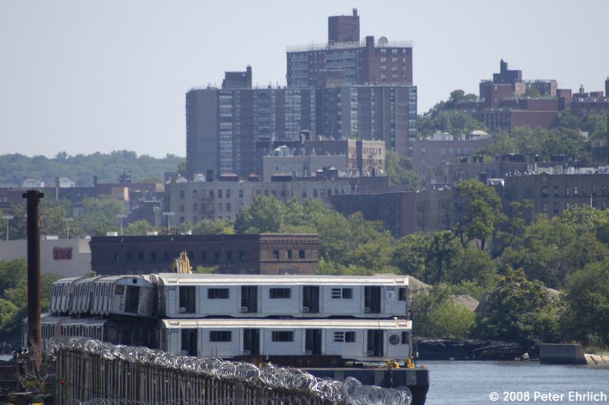 (167k, 864x574)<br><b>Country:</b> United States<br><b>City:</b> New York<br><b>System:</b> New York City Transit<br><b>Location:</b> 207th Street Yard<br><b>Car:</b> R-32 (Budd, 1964)  3674/3920 <br><b>Photo by:</b> Peter Ehrlich<br><b>Date:</b> 7/15/2008<br><b>Notes:</b> Scrap barge.<br><b>Viewed (this week/total):</b> 0 / 1083