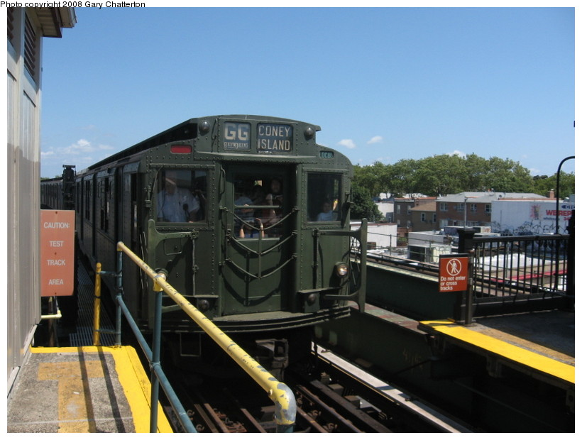 (125k, 820x620)<br><b>Country:</b> United States<br><b>City:</b> New York<br><b>System:</b> New York City Transit<br><b>Line:</b> BMT Culver Line<br><b>Location:</b> Kings Highway <br><b>Route:</b> Transit Museum Nostalgia Train<br><b>Car:</b> R-9 (Pressed Steel, 1940)  1802 <br><b>Photo by:</b> Gary Chatterton<br><b>Date:</b> 7/13/2008<br><b>Notes:</b> R9 1802 dressed up as 1689 (car equipment maintainer's joke?). The real 1689 is at Shore Line Trolley Museum.<br><b>Viewed (this week/total):</b> 0 / 1672